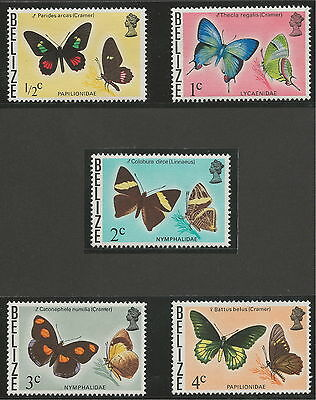 1974 Belize Butterflies, partial set, 5v.  All MNH-XF