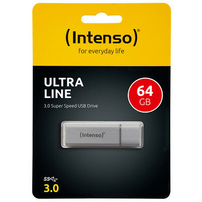 kQ Intenso Ultra Line USB Stick 64GB Highspeed USB 3.0 Alu silber 64 GB