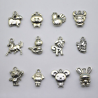 12pcs Cute Animal Charms Pendant For Loom Rubber Bands Bracelet Diy Crafts Tool