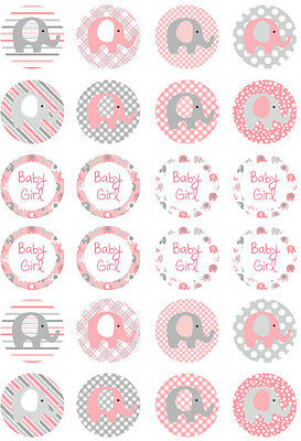 24 Elephant Pink Girl Baby Shower 4cm round cupcake edible images toppers