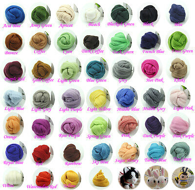 45Color Top Roving Needlefelting Wool Corriedale Dyed Spinning Wet Felting Fiber