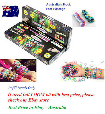 300 refill bands for DIY  Loom Bracelet Kit + Clips + Hook (Australian Stock)