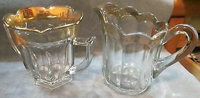 EAPG 1860's-80's Colonial Pattern Large Clear Glass W Gold Rim Creamer & Sugar