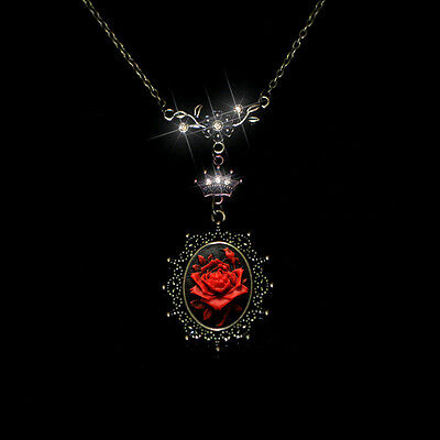 Red Stunning Rose Exquisite Cameo CZ Leaves Crown Pendant Necklace