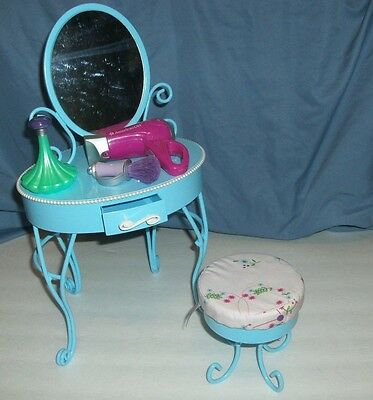 Retired Curlicue American Girl Doll Blue Vanity Set Mirror and Stool with Extras