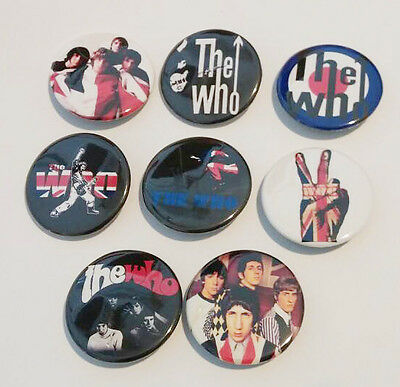 8 piece lot of The Who pins buttons badges
