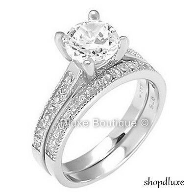 2.05 Ct Round Cut Cz .925 Sterling Silver Wedding Ring Set Women's Size 4-11