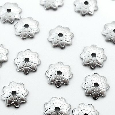 100 x Etched Flower Stainless Steel 7mm Bead Caps - Dark Silver Tone