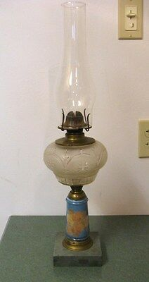 Antique Composite Reverse Painted Frosted Font Soapstone Base Oil Stem Lamp