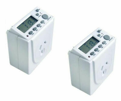 2x Digital Timer 7 Days Automation 240V 10A Electric Programmable for Powerpoint