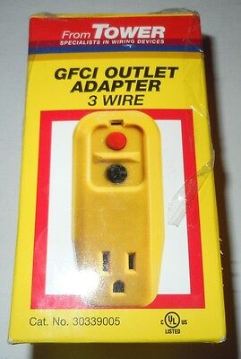 NEW Tower Manufacturing 30339005 15 amp 3-Wire GFCI Outlet Adapter