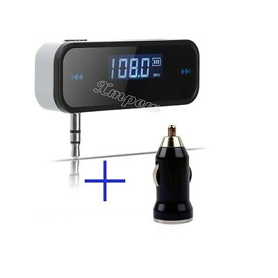 Hot 3.5mm FM Transmitter + Car Charger Wireless Radio Adapter for iPhone4 5S 5C