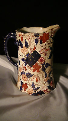 "19th Century Jug Fleming Pottery Glasgow Imari Pattern, Whimsical , 7 1/2"" tall"