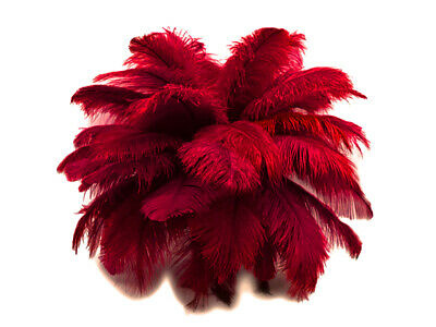 """200 Feathers - 9-13"""" Burgundy Ostrich Drabs Wholesale Feathers Wedding Halloween"""