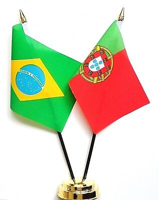 Brazil & Portugal Double Friendship Table Flag Set