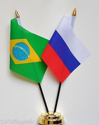 Brazil & Russian Federation Russia Double Friendship Table Flag Set