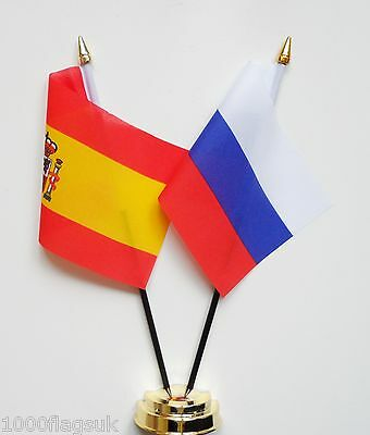 Spain & Russian Federation Russia Double Friendship Table Flag Set