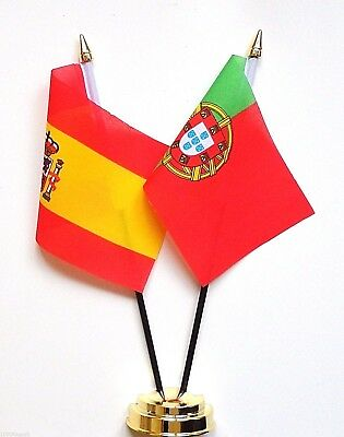 Spain & Portugal Double Friendship Table Flag Set