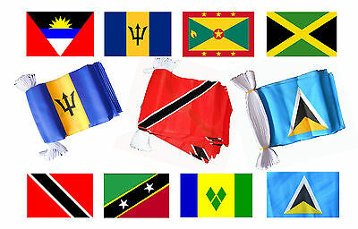 3 x CARIBBEAN 9 METRE BUNTING 30 FLAGS flag ST LUCIA JAMAICA TRINIDAD BARBADOS