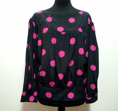 CULT VINTAGE '80 Camicia Donna Seta Pois Woman Pin Up Silk Shirt Sz.L - 46