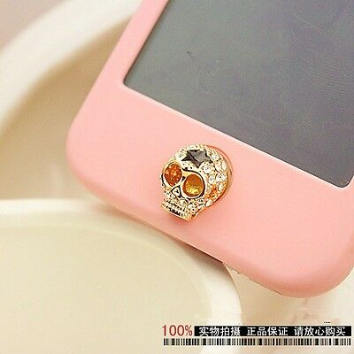 For Apple iPhone 4, 4S, 5, 5S 3D Bling Crystal Diamond Skull Home Button Sticker
