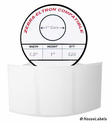 "1 Roll / 520 Labels of 1.5x1 (1-1/2"" x 1"") Direct Thermal Zebra Eltron Labels"