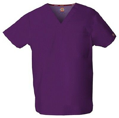 Dickies Scrubs 83706 V Neck Unisex Scrub Top Dickies EDS Eggplant