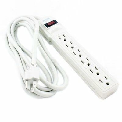 8 FT 6 Outlet Power Strip Extension Cord w/ Surge Protector ETL Tap 8 Feet