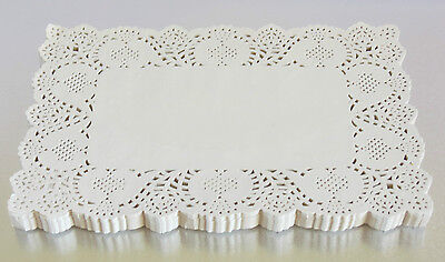Rectangle Paper Lace Doilies  Ivory white Wedding Craft Scrapbook Cake 8 sizes