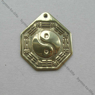 1 pc Chinese Ying yang Feng shui Pagua Mirror Bright Brass S size 1-7/8""