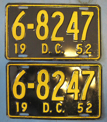 1952 DC license plates matched pair District of Columbia license plates nice