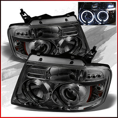FITS 2004-2008 FORD F150 SMOKE DUAL HALO LED PROJECTOR HEADLIGHTS LAMPS PAIR