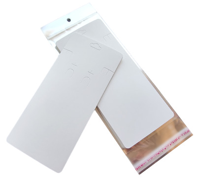 Large White Earring Necklace Display Cards & Self Adhesive Bags (19.5cm) ~ Plain