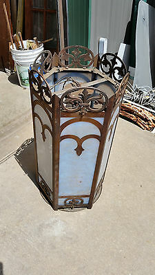 Tall Gothic 6 panel textured glass light with chain   (LT 581)