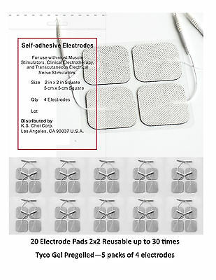 20 Electrode Pads Tens Units 2x2Inch White Cloth Free Shipping!