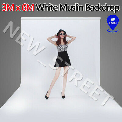 3X6M White Photography Studio Cotton Screen Photo Muslin Backdrop Background AU