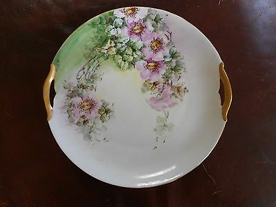 """Vintage Hand Painted 9 3/4"""" Cake Plate-WILD PINK ROSES FLOWERS-KPM Germany"""