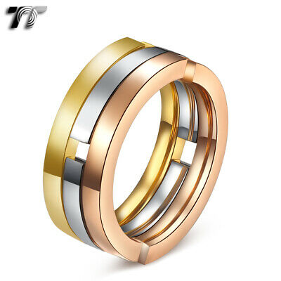 TT Tri-Tone Gold Siver Rose Gold Soft Stainless Steel Wedding Band Ring (R226)
