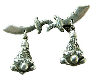 Vintage Sterling Silver Sword & Buddha Screw Back Dangle Earrings