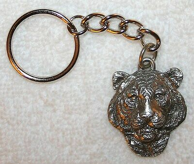 TIGER Head Fine Pewter Keychain Key Chain Ring USA Made