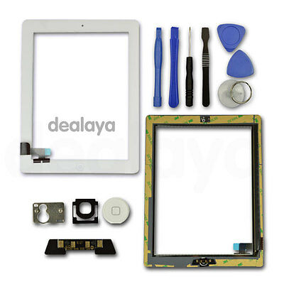 FOR IPAD 2 WHITE REPLACEMENT LCD SCREEN TOUCH DIGITIZER FRONT GLASS Home Button