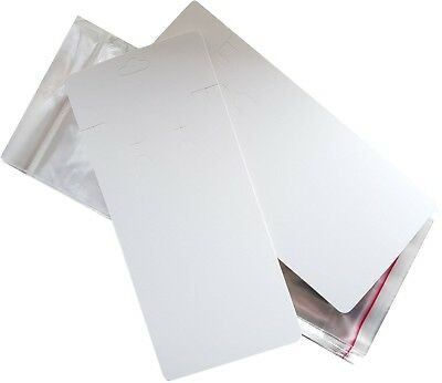25 x Large Plain White Earring & Necklace Display Cards With Self Adhesive Bags