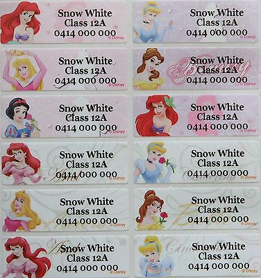 60 Disney Princess with Cinderella Personalised Name Stickers Tag / Label Vinyl