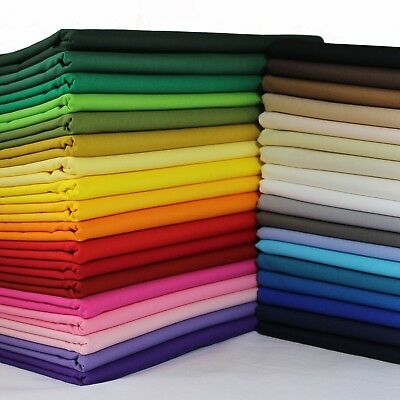 100% Cotton Fabric Sheeting Plain Solid Colours per metre