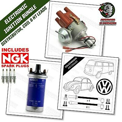 VW Beetle & Camper SVDA Distributor HT Leads & Genuine Bosch Coil & NGK Plugs