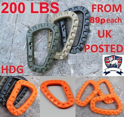 Carabiner 200 Pound D Shape Clip Hook Plce Bushcraft Tactical Combat Army Molle
