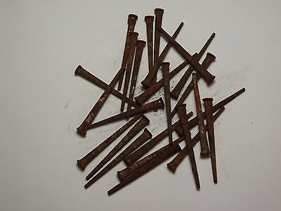 "LOT OF 25 ""OLD"" NOS VINTAGE ANTIQUE SQUARE CUT STEEL NAILS  3 1/8 "" LONG"