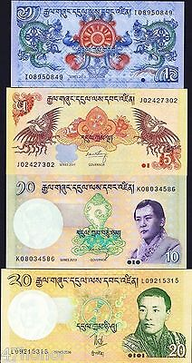 Bhutan - 1, 5, 10, 20 Ngultrum , Banknote set of 4 UNC