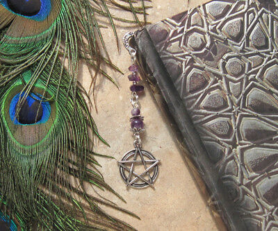 Wicca Metal Bookmarker Amethyst chip BOOK Mark SPELL