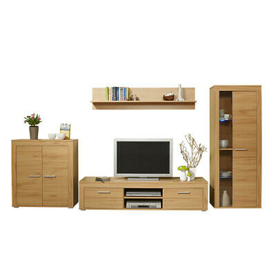 wohnwand kernbuche wohnzimmer schrank anbauwand. Black Bedroom Furniture Sets. Home Design Ideas